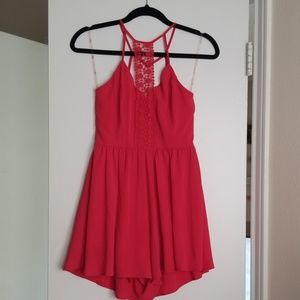 Dresses & Skirts - Coral Romper With Lace